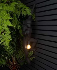Hanging Monkey Indoor / Outdoor Light // Louie by Dowsing & Reynolds, the perfect gift for Explore more unique gifts in our curated marketplace. Fence Lighting, Wall Sconce Lighting, Outdoor Lighting, Garden Lighting Ideas, Garden Ideas, Modern Wood Fence, Black Fence, Black Garden Fence, Animal Lamp