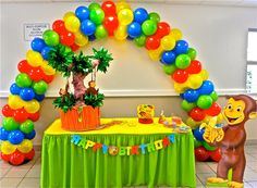 ballon arch {could do this with barnyard theme} Boys First Birthday Party Ideas, Baby First Birthday, Birthday Fun, First Birthday Parties, Birthday Party Decorations, First Birthdays, Curious George Party, Curious George Birthday, Ballon Arch