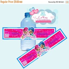 SALE Shimmer and Shine water bottle tag, shimmer and shine birthday tags,