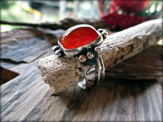 Carnelian Ring Textured Silver Ring Handmade by SterlingToLove, $124.50