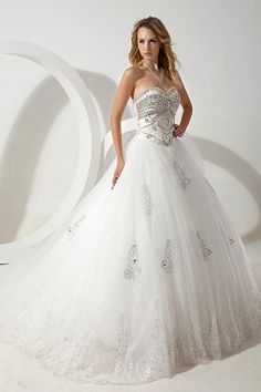 Luxurious Sweetheart Neckline Ball Gown Full Length Celebrity Wedding Dresses With Sequins Cheap Lace Wedding Dresses, Plus Size Wedding Dresses With Sleeves, Dresses For Apple Shape, Tulle Wedding Gown, Celebrity Wedding Dresses, White Wedding Gowns, Wedding Dresses 2014, Tulle Ball Gown, Cheap Prom Dresses