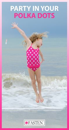 Party in your polka dots with FASTEN swimsuits! Kids beachwear that makes swim time faster, easier, and cleaner.  #FASTENista #FASTEN
