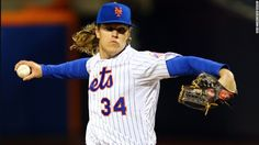 New York Mets Noah Syndergaard pitches in the first inning against the Kansas City Royals during Game Three of the 2015 World Series at Citi Field on October 30 in New York.