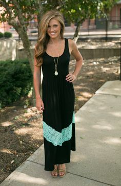 Magnolia Boutique Indianapolis - Black and Mint Lace Chevron Maxi , $39.00 (http://www.indiefashionboutique.com/black-and-mint-lace-chevron-maxi/)