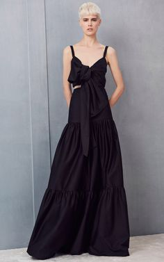 Black Bow Crop Top and Ruffled Maxi Skirt by Alexis | Moda Operandi