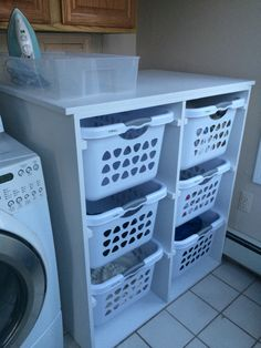 Loving the laundry dresser my husband made for my laundry room!