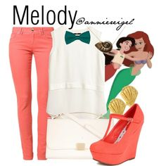 Melody by anniereigel on Polyvore featuring H&M, Morgan, Gorjana and Disney