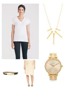 Light neutrals are so refreshing come Springtime! A pretty wrap skirt looks modern with a white t-shirt & luxe gold accessories.