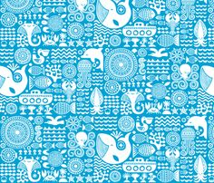 under the sea, mono white fabric by dennisthebadger on Spoonflower - custom fabric