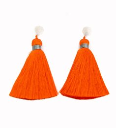 Hart for Ibu Tassel Earrings: Orange
