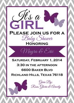 Butterfly Baby Shower Invitation Butterfly by ParraclanDesigns