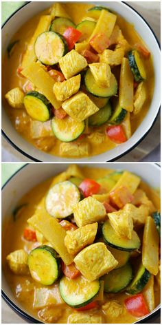 Lower Excess Fat Rooster Recipes That Basically Prime Thai Yellow Curry - Creamy Yellow Curry Recipe Loaded With Chicken, Zucchini And Bell Peppers In A Curry Sauce. This Recipe Is So Easy And Much Better Than Thai Restaurants Easy Thai Yellow Curry Recipe, Thai Yellow Chicken Curry, Thai Curry Recipes, Easy Chicken Curry, Asian Recipes, Asian Foods, Zucchini Curry, Chicken Zucchini, Healthy Salad Recipes