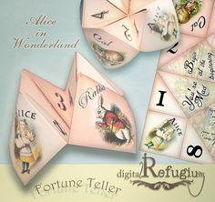 Alice in wonderlandprintable Fortune Teller by digitalRefugium