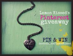 WIN this necklace from Lemon Kissed.   1.) Re-pin this picture on Pinterest   2.) Come become a fan on Facebook at http://facebook.com/lemonkissed   3.) Leave a comment on our FB page saying you want to win   Giveaway ends Monday, May 14th  Winner announced on Facebook and on Pinterest. Must be a fan to win.