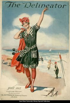 Cover of the Delineator showing a girl in a bathing suit, July 1917