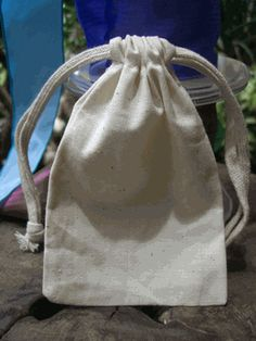 Cotton Bag with Drawstring 3in x 5in | (Pack of 12)