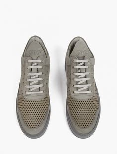 Filling Pieces,Grey Leather Gradient Perforated Sneakers,