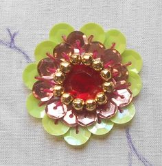 HAND EMBROIDERY: How to do- A Big Beautiful rosette Sequin Flower using Kundan Stone & Beads