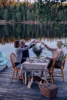 A magical gathering at the lake in Sweden surrounded by the woods