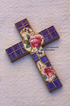 Mosaic Cross Roses Pink Purple by EllenmarieMosaics on Etsy, $39.00