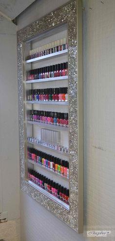 nail polish rack, display cabinet, make up organizer, makeup organizer, nail pol. Makeup Storage Bedroom, Makeup Storage Furniture, Makeup Storage Cabinet, Makeup Storage Display, Makeup Rooms, Storage Ideas, Makeup Organization, Salon Furniture, Table Storage
