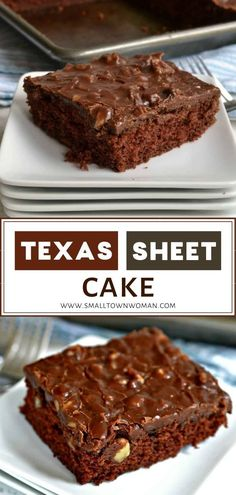 A quick and easy moist homemade chocolate cake covered with a chocolate fudge walnut frosting! This Texas Sheet Cake bakes up fast and is perfect for a crowd. Make this dessert for potlucks, pool parties, birthday parties, and family reunions! Everyone will love this sweet treat!