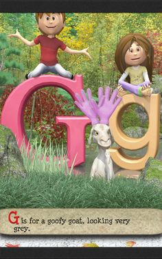 G is for a goofy goat, looking very grey is the next letter and rhyme in the ABC poem for kids. Alliteration, Goats, Kindergarten, Preschool, Lettering, Grey, Kids, Kinder Garden, Preschools