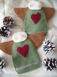 DIY primitive felt angel ornaments