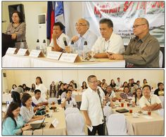 """Social Security System (SSS) President and Chief Executive Officer Emilio de Quiros, Jr. (top photo, 3rd from right) responds to questions from the local media (bottom photo) during the Open Forum of the """"Kapihan sa SSS"""" at Arian Hotel, Airport Road, Minaog, Dipolog City on July 22, 2014."""