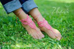 Crochet barefoot sandal Bridal foot jewelry Beach wedding by ZHAVI