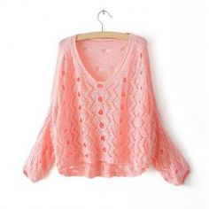$11.35 High-low Hem Crochet Flower Hollow Out Loose-Fitting Cotton Solid Color Knitwear For Women