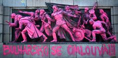 BULGARIA, Sofia: A picture shows the figures of Soviet soldiers at the base of the Soviet Army monument, painted by an unknown artist in cheeky pink facelift to decry the Warsaw Pact invasion of Czechoslovakia on August AFP PHOTO / DIMITAR DILKOFF Prague Spring, Warsaw Pact, Soviet Army, Social Art, Statue, Bulgarian, Graffiti, Street Art, Memories