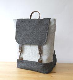 Melange gray wool and Vintage denim Wool  Backpack, Unique Design of BagyBag. $95.70, via Etsy.