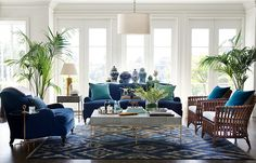 blue velvet + rattan chairs + gold accents + natural light + palms = perfection