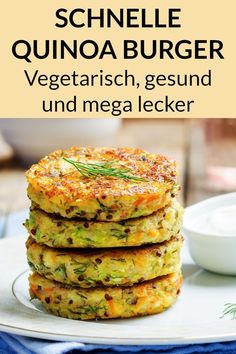 Quinoa Burger Recipe - Vegetarian Dinner for Weight Loss - This vegetarian . - Quinoa Burger Recipe – Vegetarian Weight Loss Dinner – This vegetarian quinoa recipe from the p - Vegetarian Quinoa Recipes, Healthy Chicken Recipes, Vegetarian Diets, Easy Soup Recipes, Easy Dinner Recipes, Quinoa Burgers, Salmon Burgers, Quick And Easy Soup, Le Diner