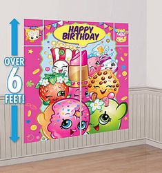 SHOPKINS Scene Setter HAPPY BIRTHDAY party wall PHOTO BACKDROP grocery LIPPY LIP | Home & Garden, Greeting Cards & Party Supply, Party Supplies | eBay!