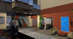 3D Rendering of Two-Story Lobby from the Reception Desk looking across to the Conference Room in the background and the Waterfall feature in the seating area.