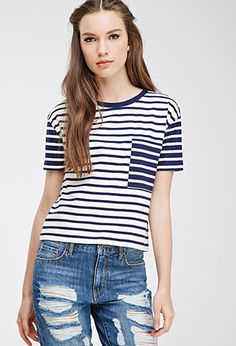 Colorblocked Pocket Striped Tee | Forever 21 - 2000115224