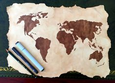 Tutorial: Steps for creating an old scroll or antique looking paper and drawing a treasure or pirate map. Bonus: how to draw a world map. Treasure Hunt Map, Treasure Maps For Kids, Pirate Treasure Maps, Pirate Maps, Summer Fun For Kids, Art For Kids, Birthday Morning, Vbs Themes, Pirate Crafts
