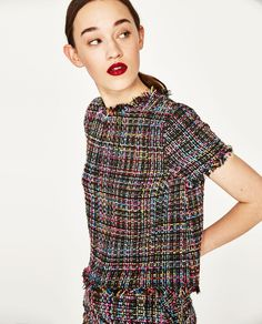 FRAYED TWEED TOP-View All-TOPS-WOMAN | ZARA United States