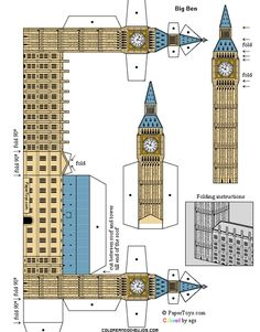 British Icon Paper Toys Visit Paper Toys to print out these fun British icons to build and play with: bus::Big Ben::globe theater::london taxi Big Ben, 3d Templates, Free Paper Models, Great Wall Of China, Thinking Day, Paper Houses, Printable Paper, Paper Toys, Cardboard Toys