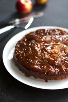 This Salted Caramel Apple Upside Down Cake is covered with a top layer of homemade salted caramel and loaded with thinly slices apples.