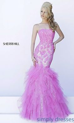 Strapless Embroidered Sequin Gown by Sherri Hill at SimplyDresses.com