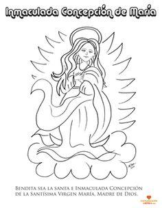Inmaculada Concepción de #María. Dibujo para colorear. www.evangelizacioncatolica.com