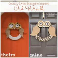 Country Living Magazine inspired DIY Owl Wreath via www.twopurplecouches.com