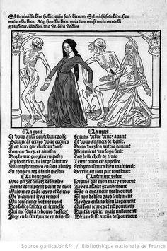 Titre : [Illustrations de Cy est la danse macabre des femmes] / [Non identifié] Éditeur : Guy Marchant (Paris) Date d'édition : 1491 Sujet : Danse macabre