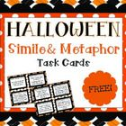 Enjoy this free set of 16 simile and metaphor task cards with a fun Halloween theme! FREEBIE