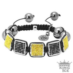 Square Disco Black & Yellow CZ Iced Out Bracelet King Ice. $39.99. Celebrity Style. Squared Design. 90 Day Warranty. Adjustable Size. Disco Ball Jewelry