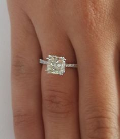 2.50 CT CUSHION CUT VS DIAMOND SOLITAIRE ENGAGEMENT RING 14K WHITE GOLD #LUXUR #SolitairewithAccents