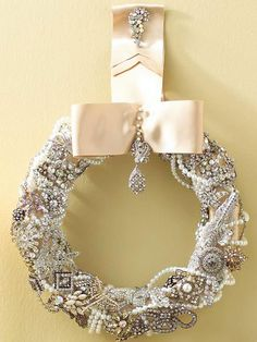Jeweled Wreath. A raid on your jewelry box (or perhaps your mother's or grandmother's) might yield a wealth of vintage costume jewelry. If your baubles are in short supply, search flea markets or vintage stores for jeweled treasures.
